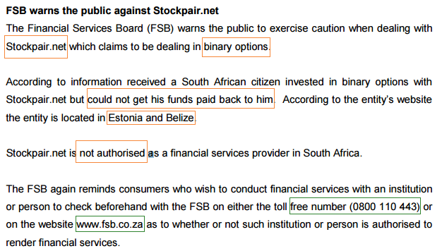 二元期权平台Stockpair在南非无牌经营 被FSB列入警告名单